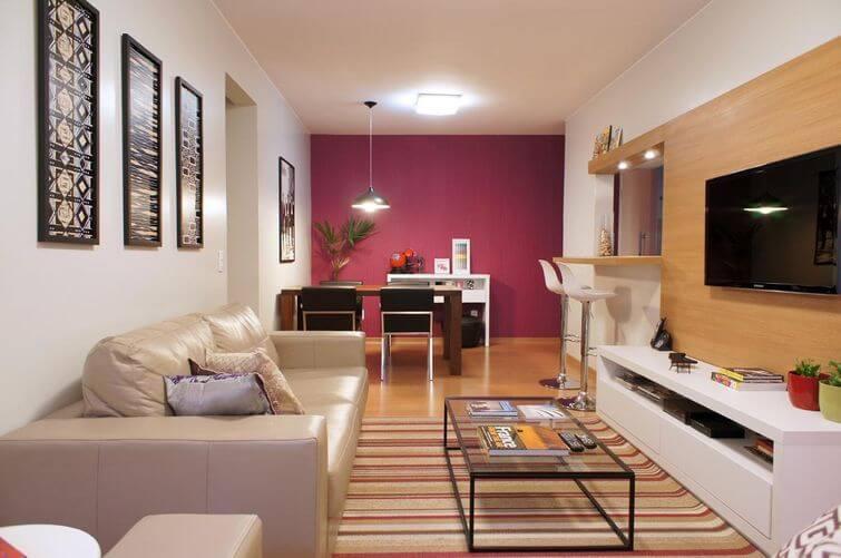 Decoração de casa alugada: Paredes coloridas trazem personalidade. Projeto por Giselle Medeiros